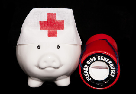 health care funding: charity healthcare piggy bank cutout