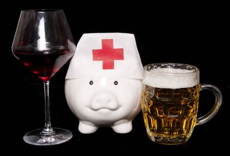 alcohol abuse: cost of alcohol abuse on health piggy bank cutout