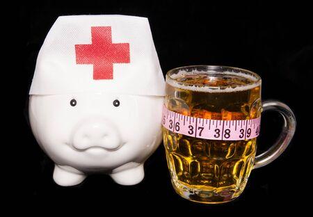beer causing over weight population piggy bank cutout photo