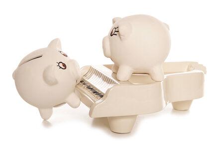 cutout: making money busking studio cutout Stock Photo