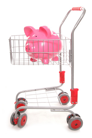 shopping trolley: shopping trolley with piggy bank cutout