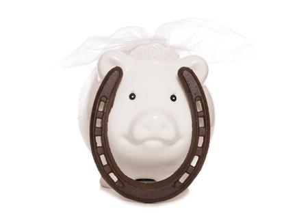 saving for a wedding piggy bank cutout photo