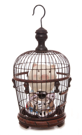 trapped: trapped in debt piggy banks cutout