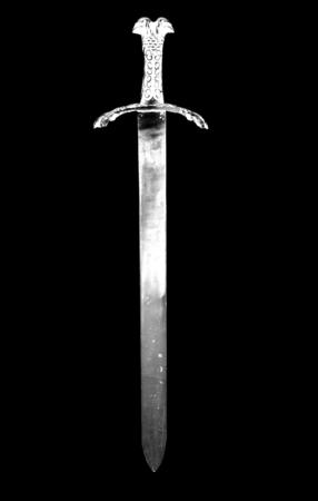 knight sword: digital photogram of a knight sword studio cut out Stock Photo