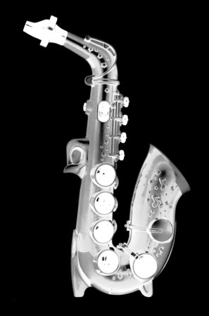 cutout: digital photogram of saxophone toy cutout