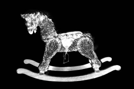 cutout: digital photogram of rocking horse studio cutout