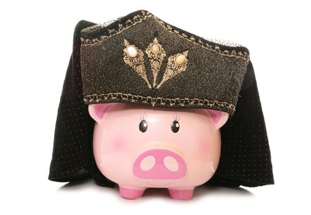 cutout: piggy bank wearing tudor headdress cutout