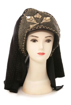 out dated: mannequin head with tudor headdress cutout