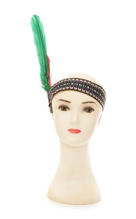 red indian: mannequin head with red indian headband cutout