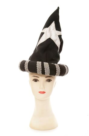 wizard hat: mannequin head with wizard hat cutout Stock Photo