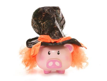 fancy box: piggy bank wearing mad hatter hat studio cutout