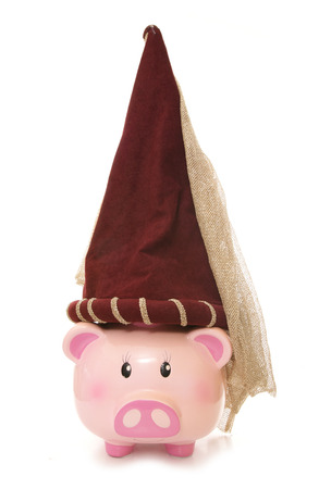 rapunzel: piggy bank wearing princess hat cutout