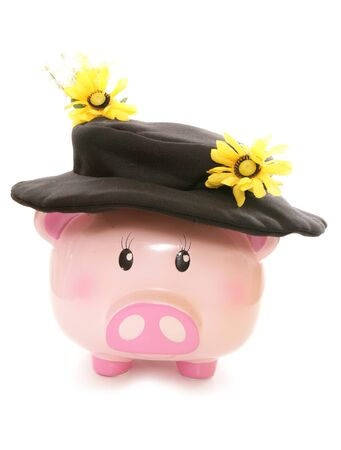 scare: piggy bank wearing sunflower scare crow hat cutout