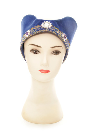 headress: mannequin wearing a tudor princess hat cutout Stock Photo