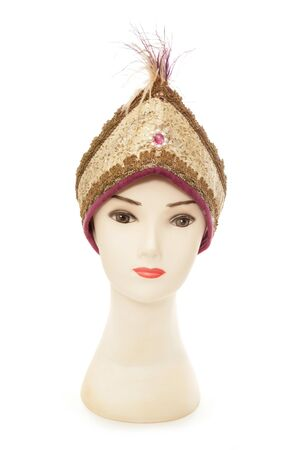headress: mannequin wearing a indian princess hat cutout