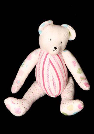 soft toy: handmade floral teddybear soft toy on black background