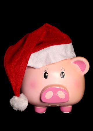 christmas savings: Piggy bank wearing a santa hat cutout