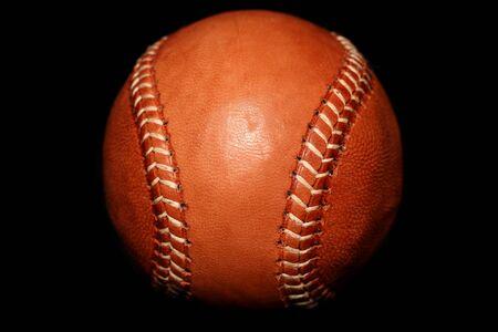 茶色の革ビンテージ スタイルの野球素材 写真素材