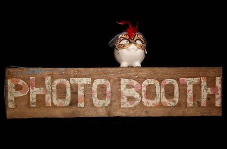 piggybank: photo booth sign and piggybank cutout Stock Photo
