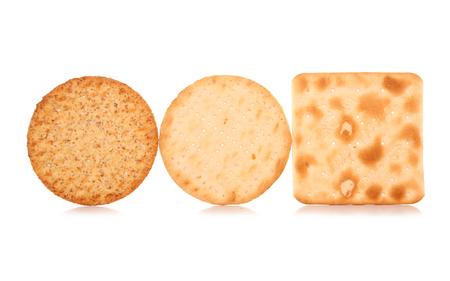three cracker biscuits on white background 写真素材