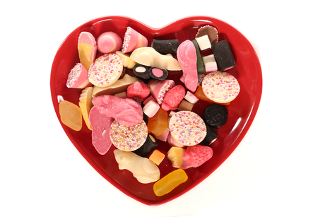 Pick and mix sweets on a heart plate