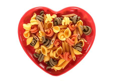 Pasta on a heart shape plate
