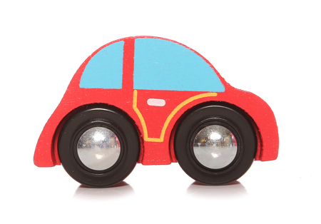 wooden red toy car cutout 写真素材