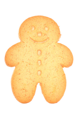 Gingerbread man biscuit on a white background