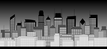 highrise: Group of high-rise buildings in the city at night in black and white style Illustration