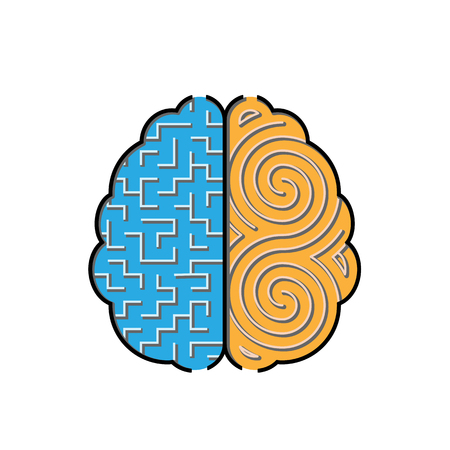 systematic: Left and right brain creative concept with 2 styles of mazes inside. Illustration