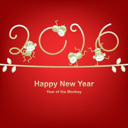 jumping monkeys: Chinese New Year 2016, year of the monkey. Gold funny monkeys on vine.