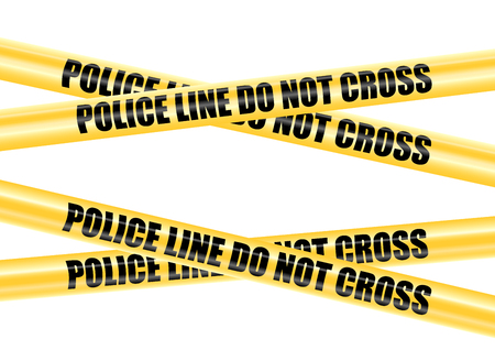 police line do not cross: Yellow Police Line Do Not Cross barricade tape, vector illustration