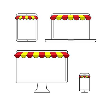 retail display: Set of screen, laptop, tablet and mobile ready to display product for online shopping. Simple line.