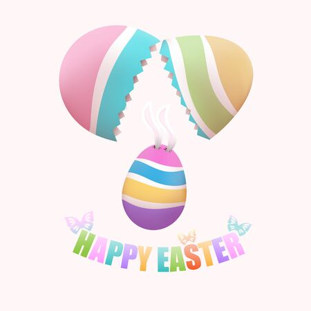 broken egg: Colorful Easter egg with bunnys ears falling from broken egg, with butterflies on pastel background Illustration