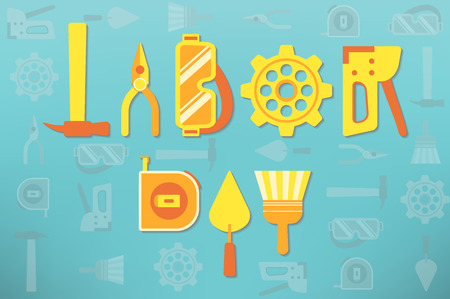 Tools arranged as text representing labor day celebration Illustration