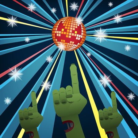 yellow fever: Halloween disco party with hands of zombies dancing under jack o lantern mirror ball Illustration