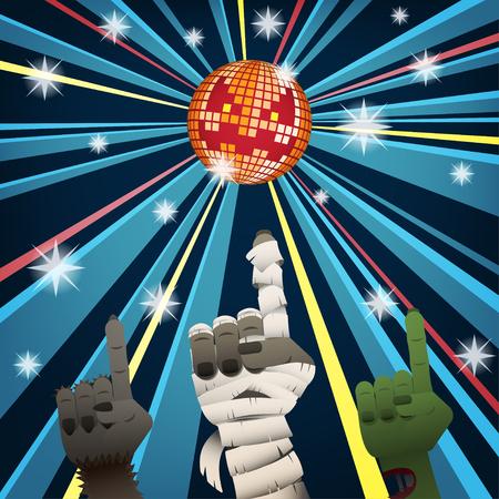Halloween disco party with hands of mummy, werewolf and zombie group dancing under jack o lantern mirror ball Vektoros illusztráció