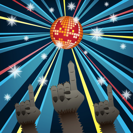 Halloween disco party with hands of werewolves group dancing under jack o lantern mirror ball