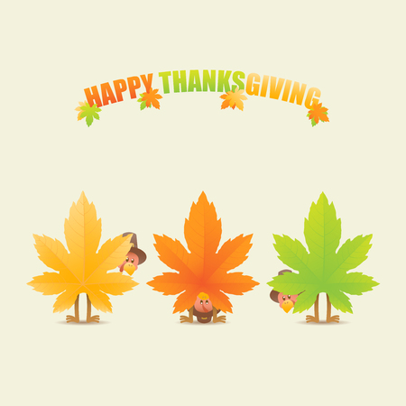 Colorful happy thanksgiving celebration with turkeys in disguise as maple leaves looking back and looking through legs