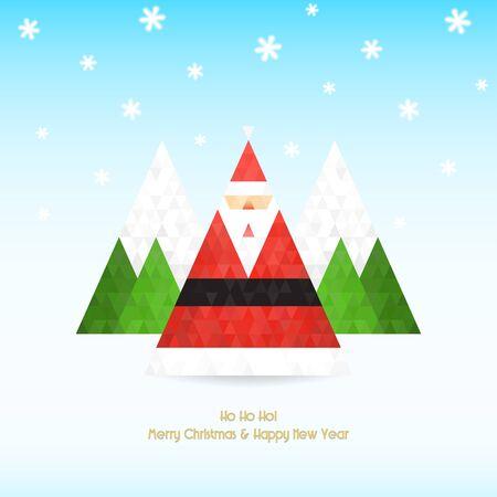 Kerstmis en Nieuwjaar feest met driehoekige kerstman, bomen, bergen en dalende sneeuwvlok