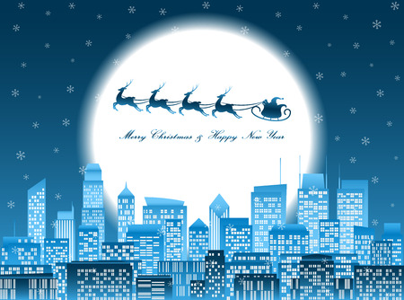 Merry christmas and happy new year celebration, santa claus riding reindeer sledge over a group of high-rise buildings in a city at night with glowing big moon and falling snowflake