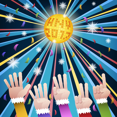 70s: Happy new year countdown disco party with hands count number from five to one, under gold hny 2017 mirror ball and colorful confetti
