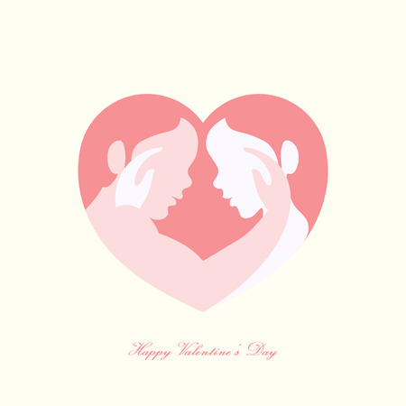 Happy Valentines day, man and woman caressing each other in heart shaped silhouette Illustration