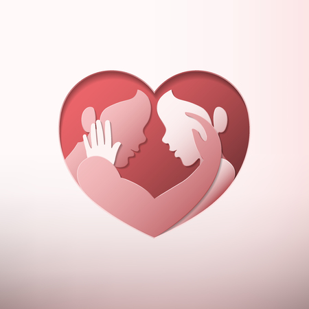 Happy Valentine's day, man en vrouw strelen elkaar in hart gevormde frame in papier kunststijl