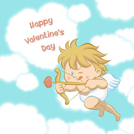 one eye: Cupid flying among heart shaped cloud, aiming with bow and arrow with one eye close and stick-out tongue to celebrate Valentines day in cartoon style