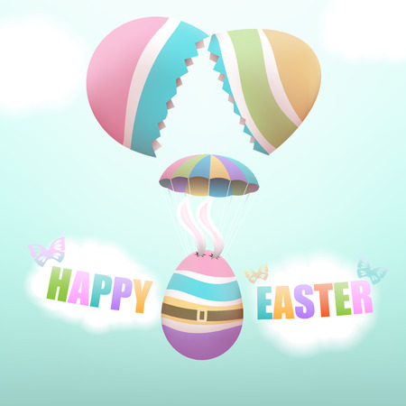 hid: Colorful Easter egg with bunnys ears parachuting from big broken egg, with butterflies and clouds in the sky