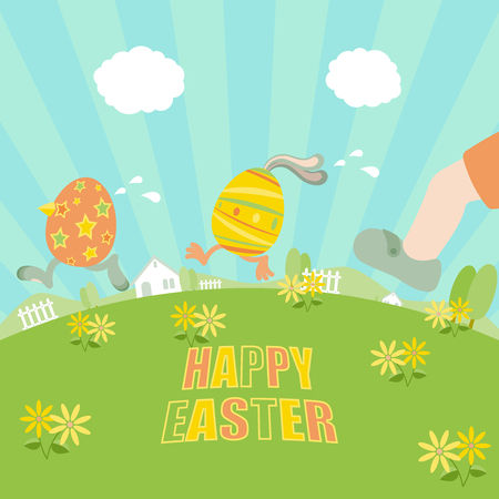 Easter eggs running away from a chasing boy on grass field with flowers, trees, fences, houses and clear blue sky Illustration
