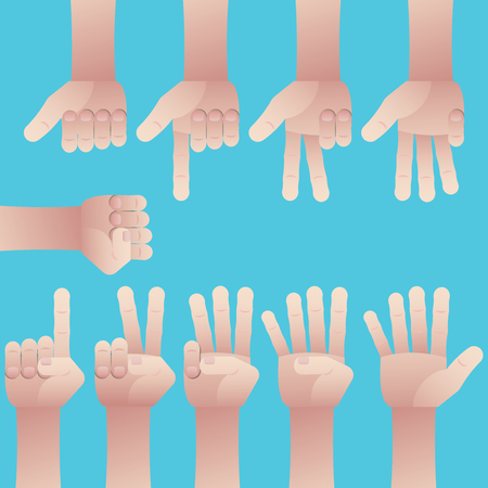 Set of male hands gesture, counting number from zero to nine on blue background Illustration