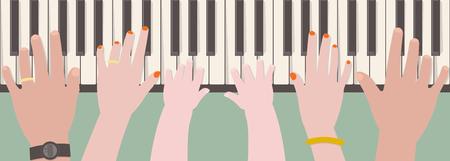 父、母と漫画のスタイルで上から見るから一緒にピアノを弾く子供の手  イラスト・ベクター素材