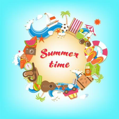 カラフルなビーチ要素とアクセサリーに囲まれて夏の時間砂浜サークル バナー